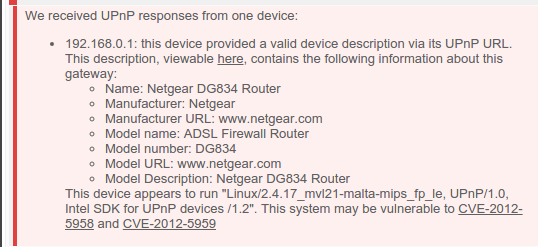 Example - A Netgear router vulnerable to CVE-2012-5958 and CVE-2012-5959